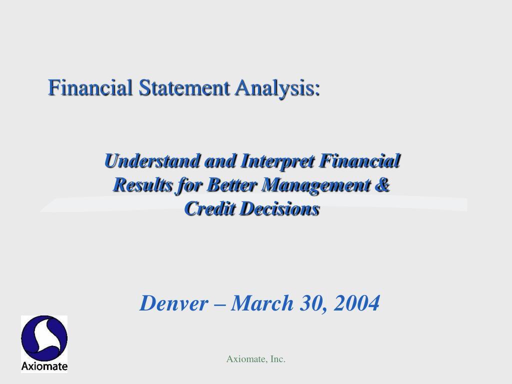 financial statement analysis l.