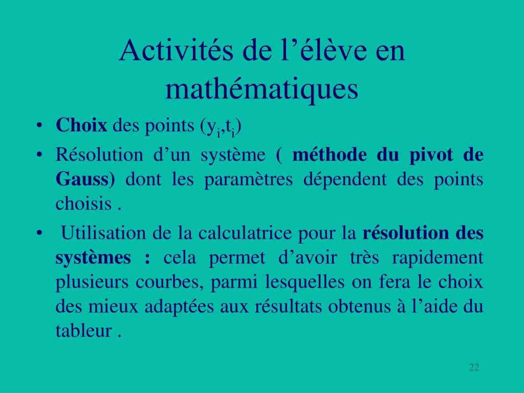 Activités de l'élève en mathématiques
