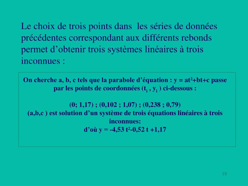 On cherche a, b, c tels que la parabole d'équation: y = at²+bt+c passe par les points de coordonnées (t