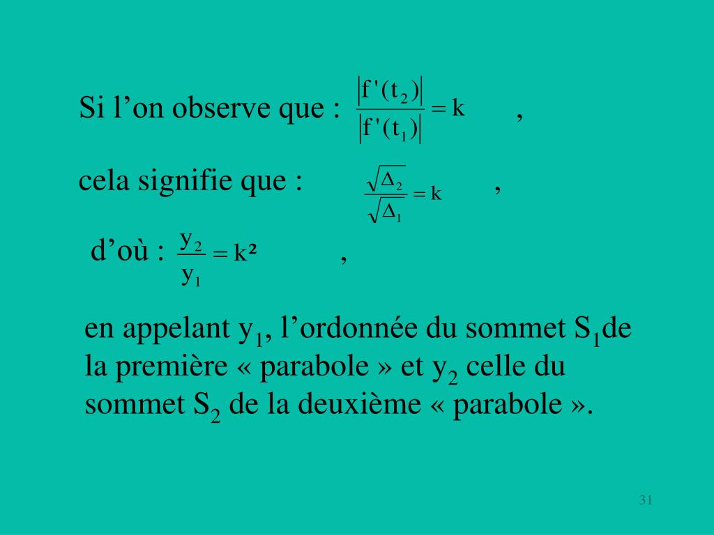 Si l'on observe que: