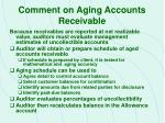 comment on aging accounts receivable
