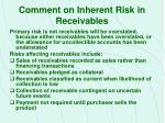 comment on inherent risk in receivables