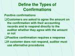 define the types of confirmations