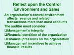reflect upon the control environment and sales