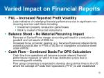 varied impact on financial reports