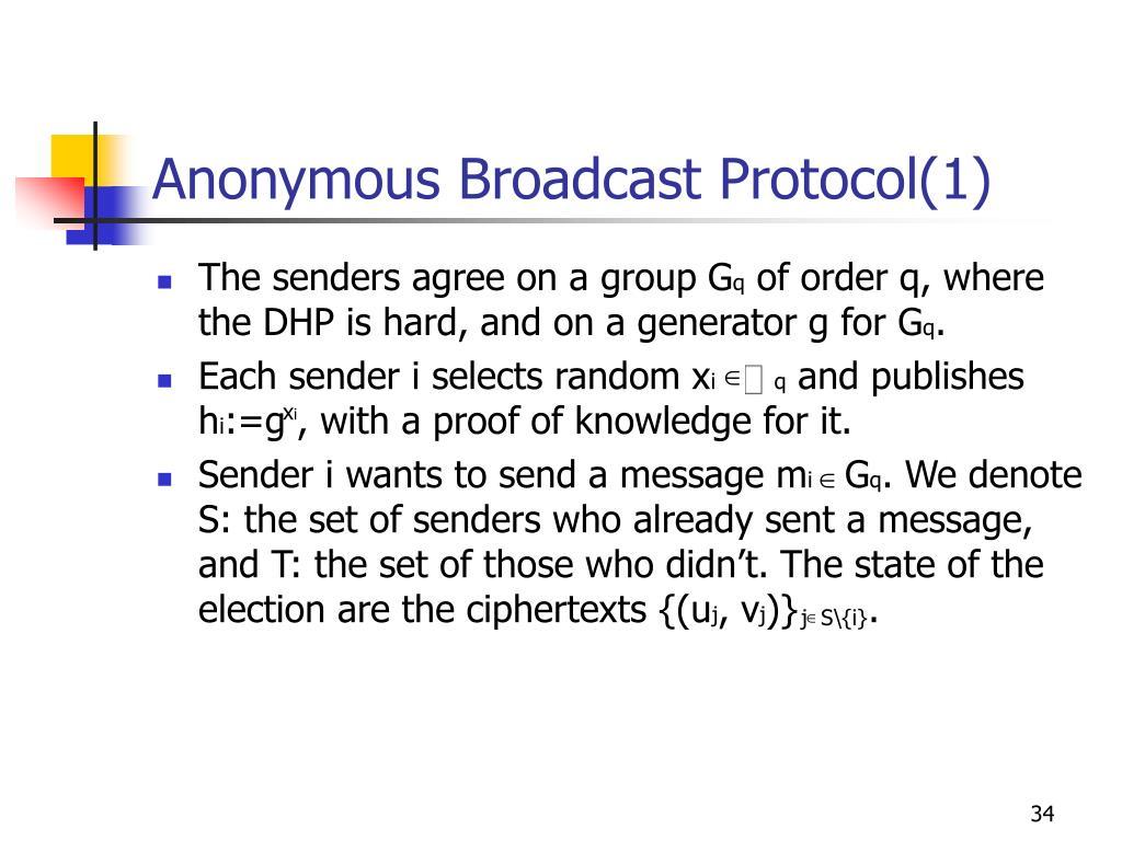 Anonymous Broadcast Protocol(1)