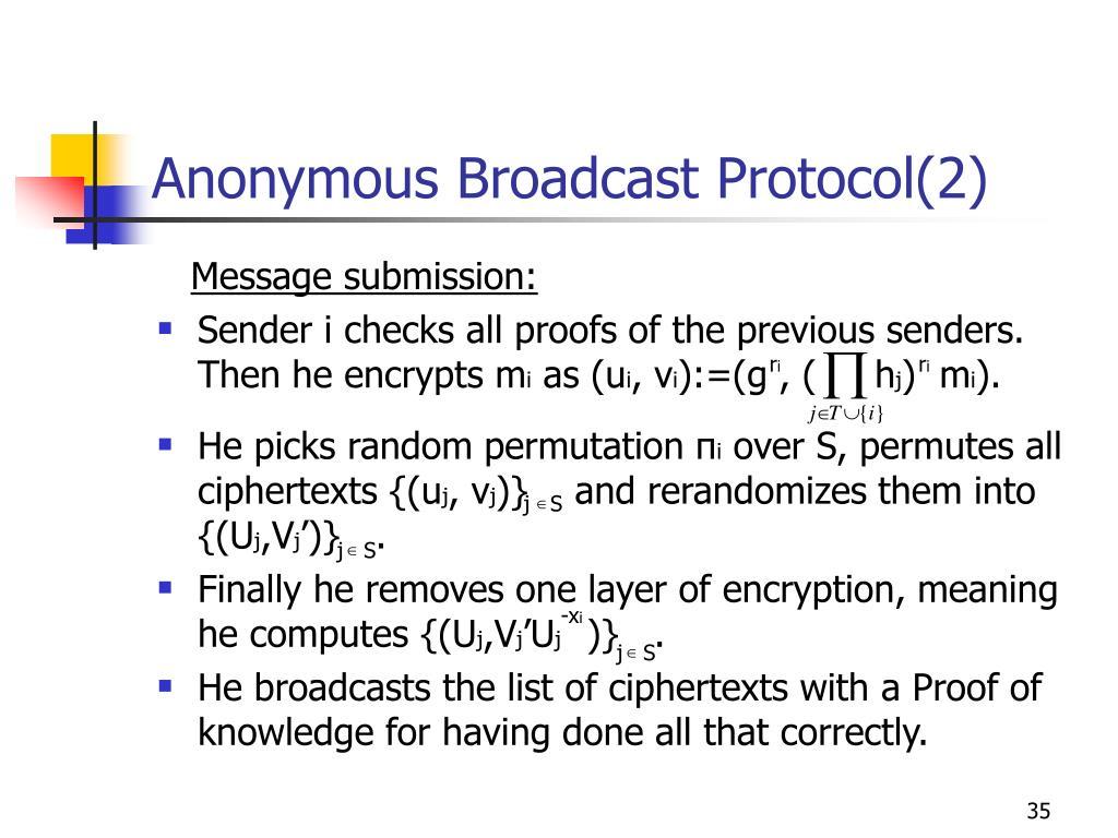 Anonymous Broadcast Protocol(2)