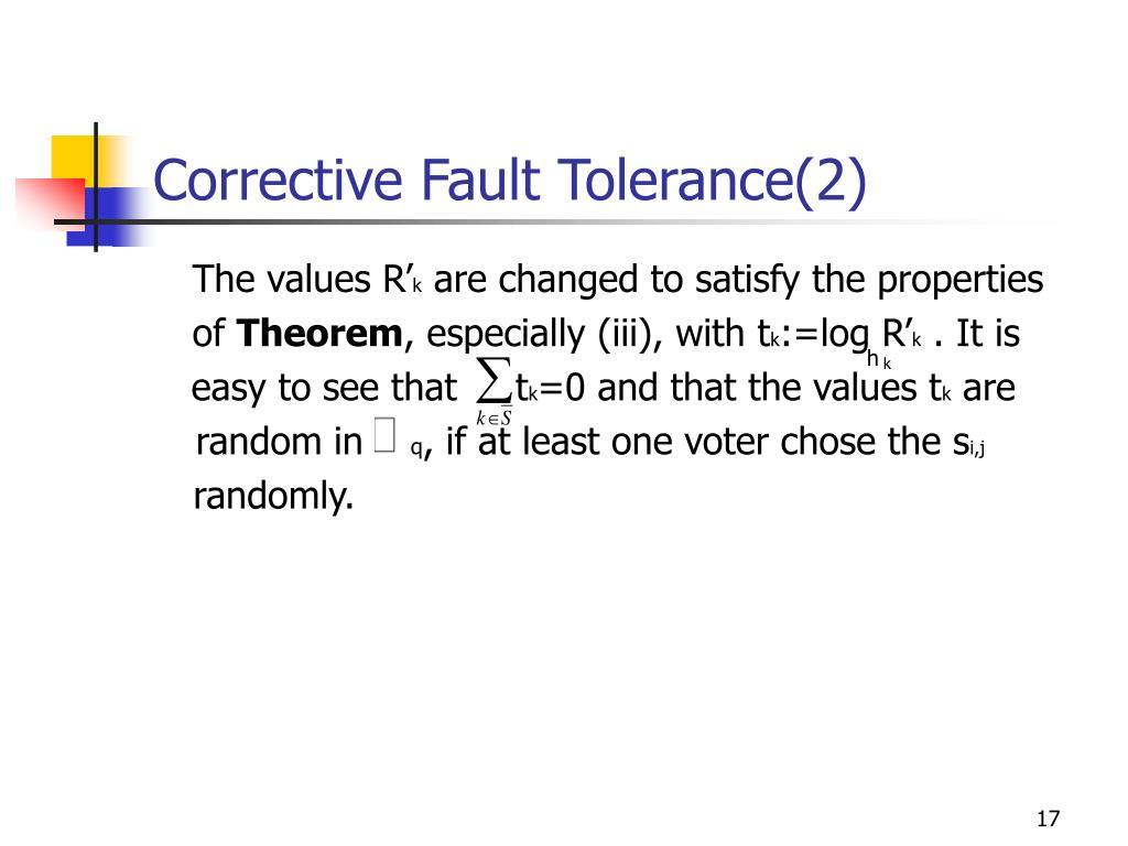 Corrective Fault Tolerance(2)