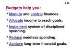 budgets help you