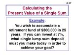 calculating the present value of a single sum