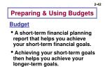 preparing using budgets