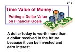 time value of money putting a dollar value on financial goals