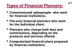types of financial planners