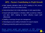 rpl factors contributing to profit growth
