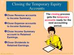 closing the temporary equity accounts