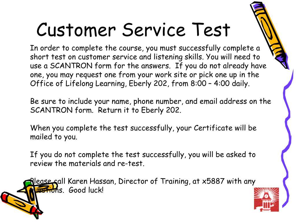 customer service test l.