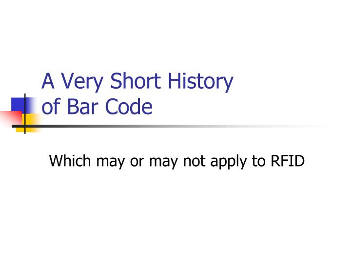 a very short history of bar code n.