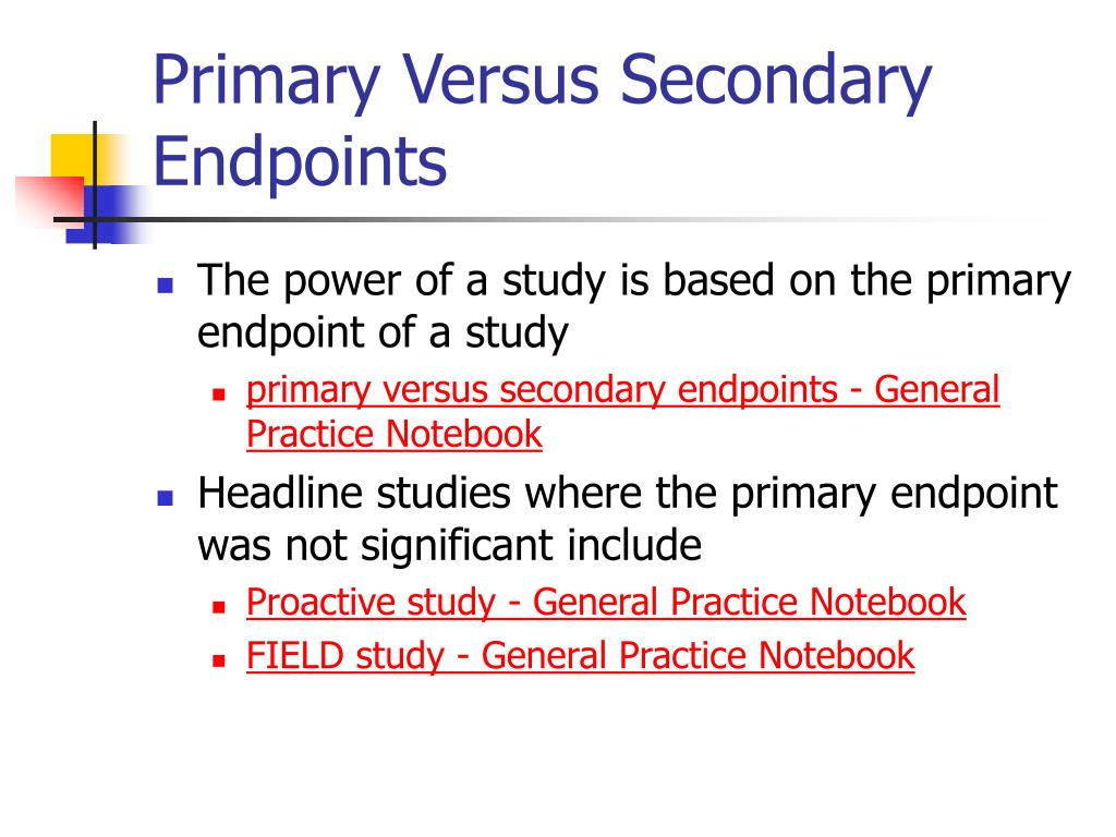 Primary Versus Secondary Endpoints