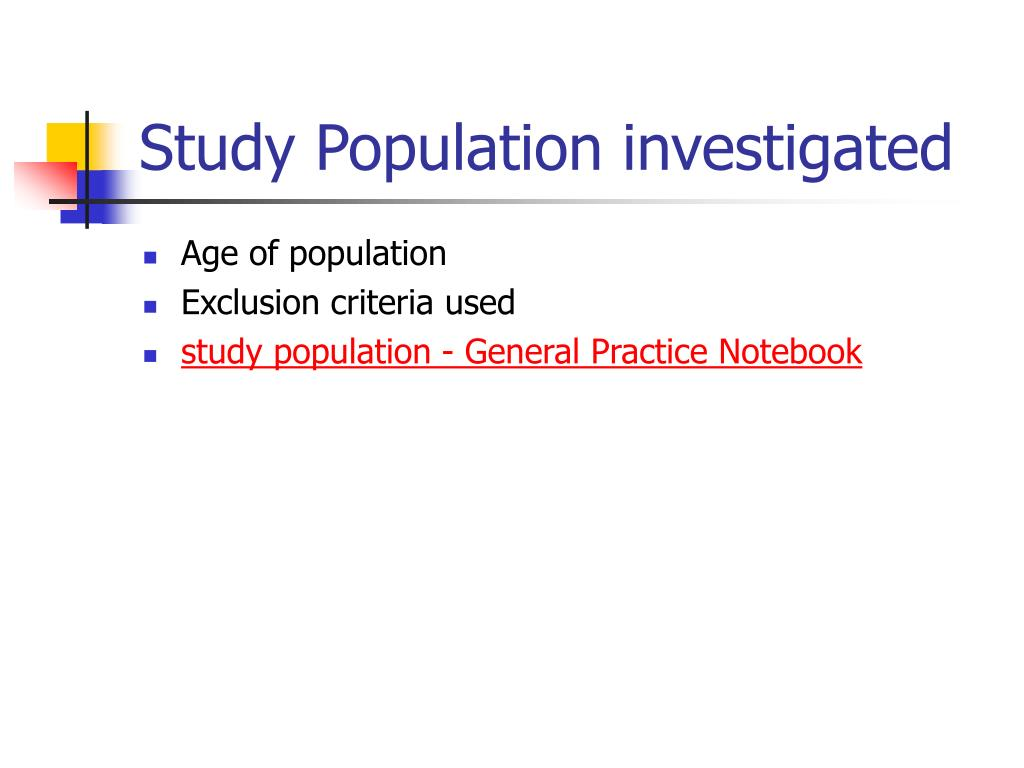 Study Population investigated