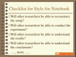 checklist for style for notebook