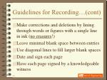 guidelines for recording cont