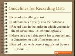 guidelines for recording data