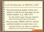 lab notebooks in meng 3207