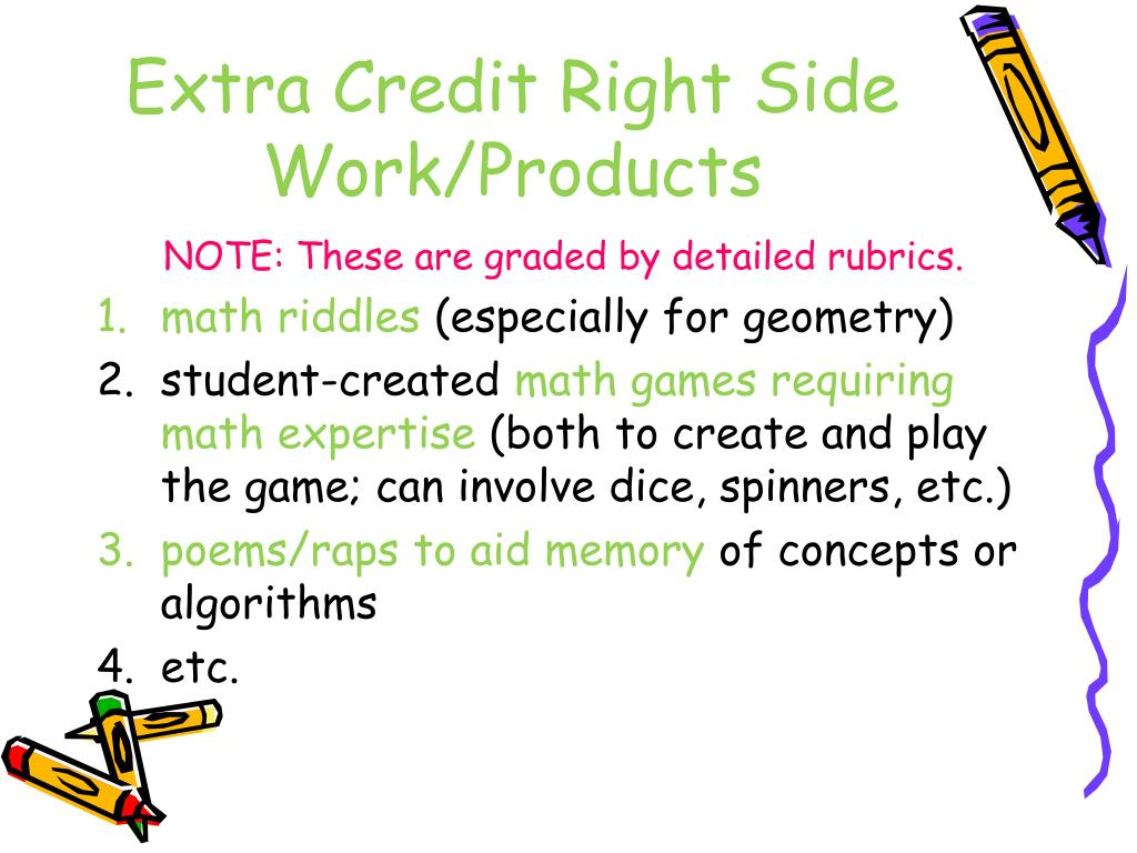 Extra Credit Right Side Work/Products