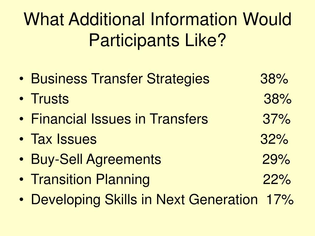 What Additional Information Would Participants Like?