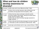 when and how do children develop awareness for diversity