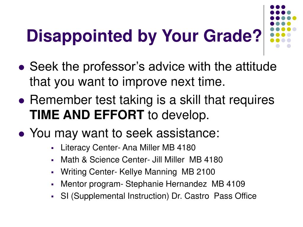 Disappointed by Your Grade?
