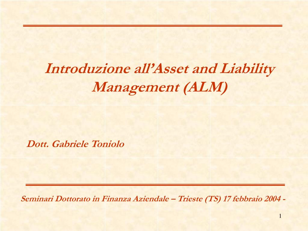 Introduzione all'Asset and Liability Management (ALM)