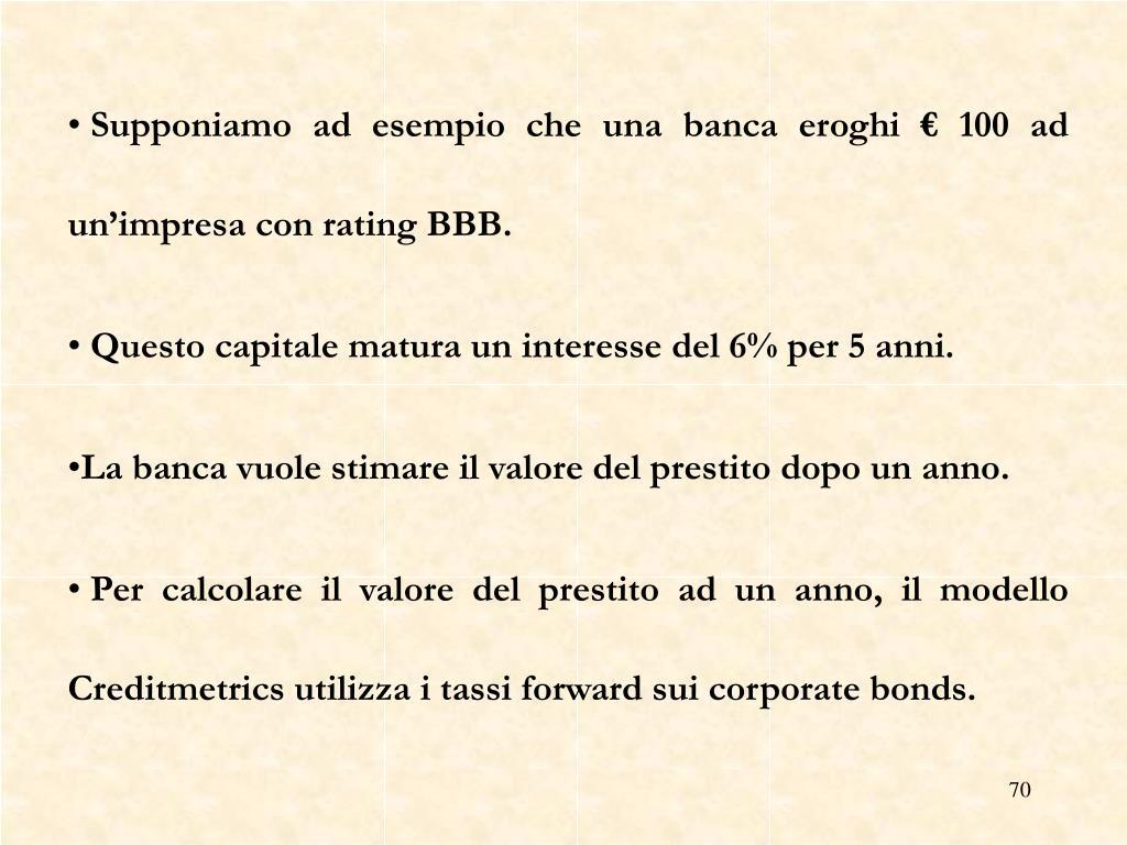 Supponiamo ad esempio che una banca eroghi € 100 ad un'impresa con rating BBB.