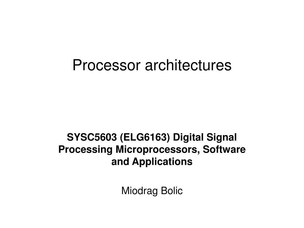 processor architectures l.