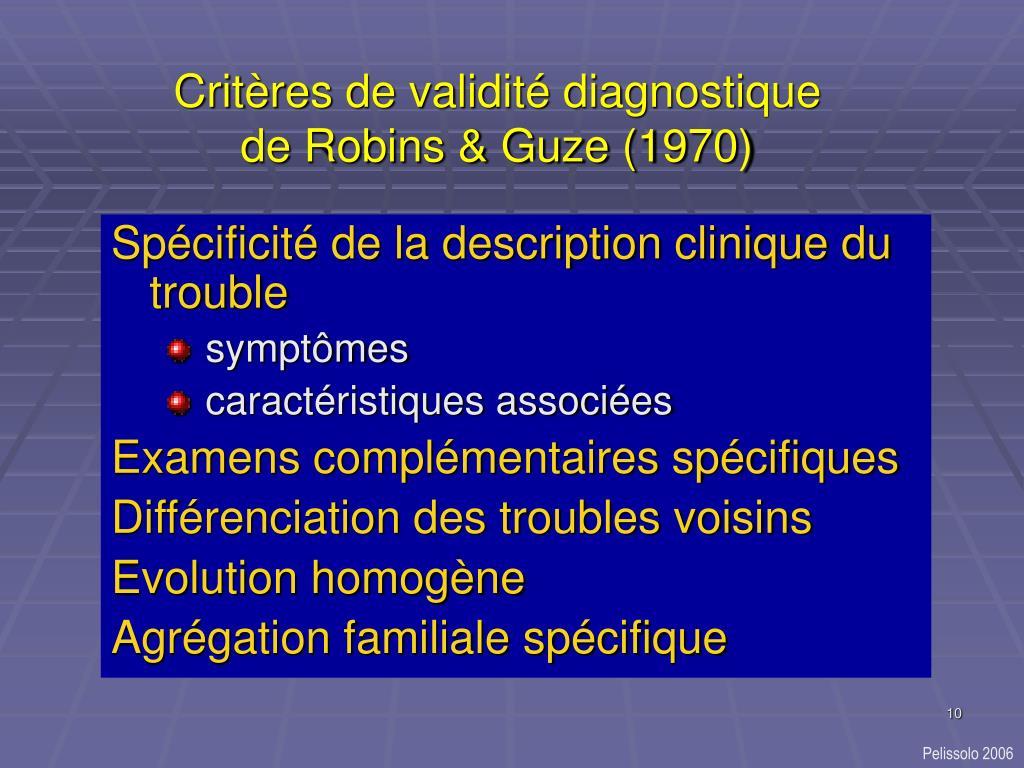 Critères de validité diagnostique