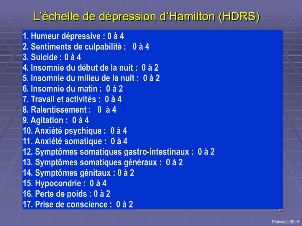 L'échelle de dépression d'Hamilton (HDRS)