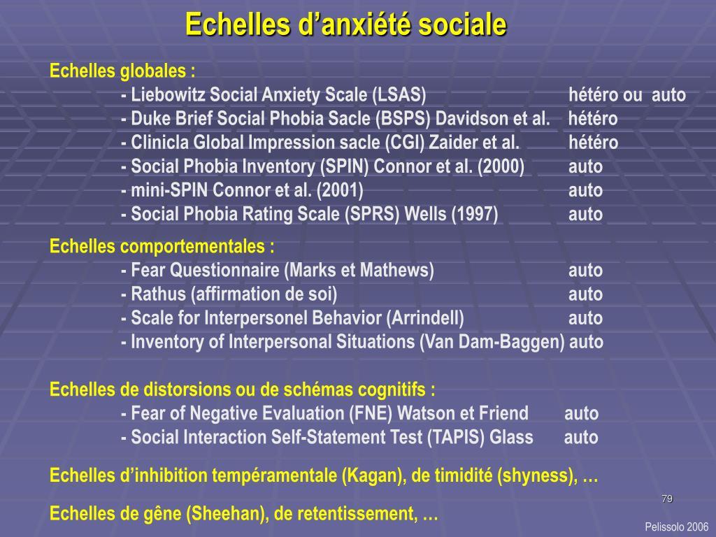 Echelles d'anxiété sociale
