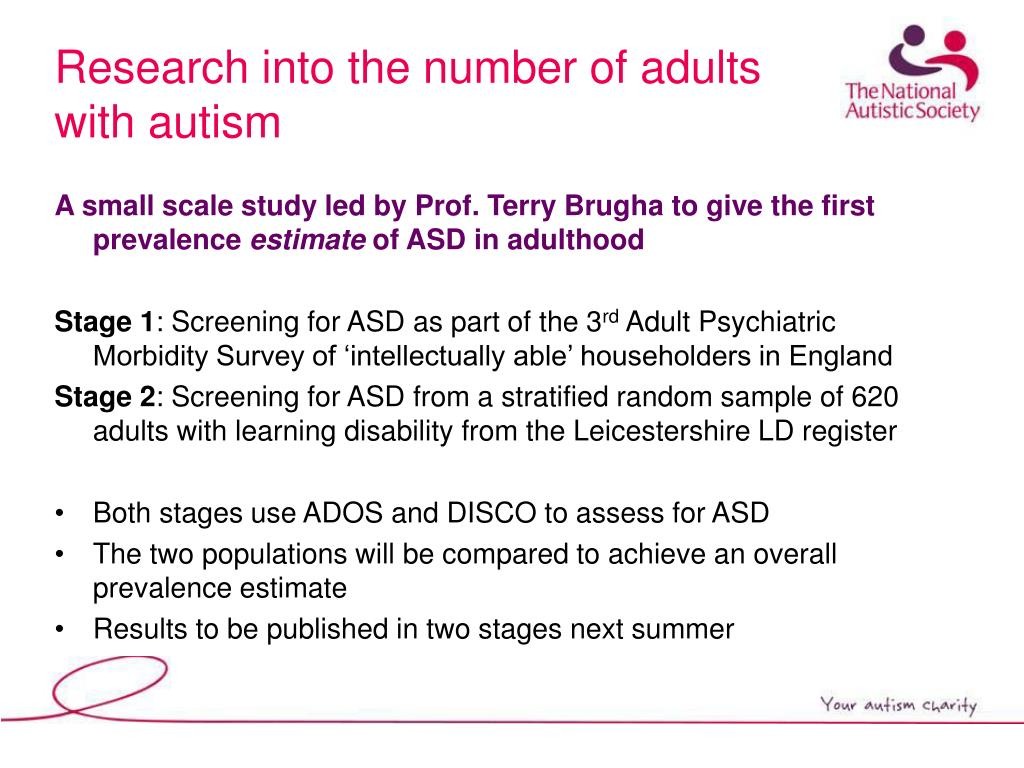 Research into the number of adults with autism