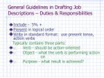 general guidelines in drafting job descriptions duties responsibilities