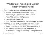 windows xp automated system recovery continued