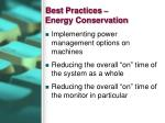 best practices energy conservation
