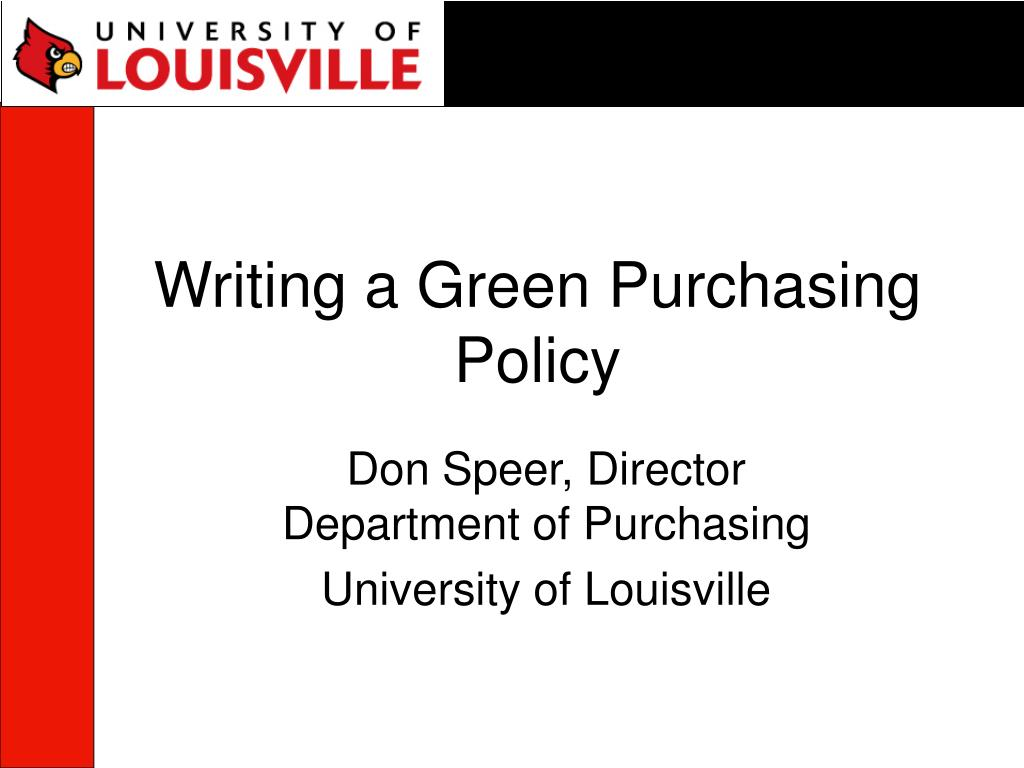 writing a green purchasing policy l.