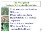 the principles of ecologically sustainable medicine