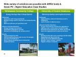 wide variety of solutions are possible with arra funds green pc higher education case studies