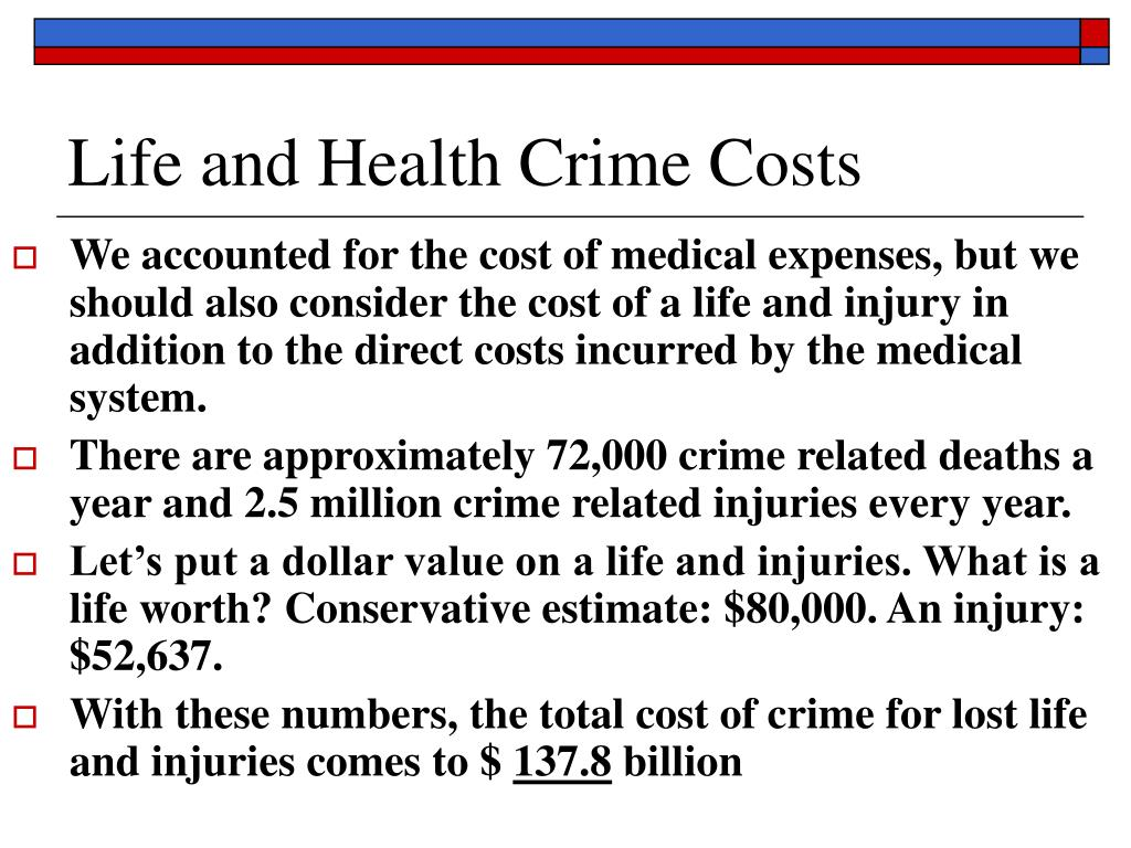 Life and Health Crime Costs