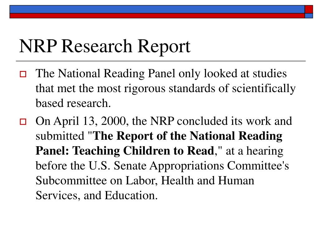 NRP Research Report