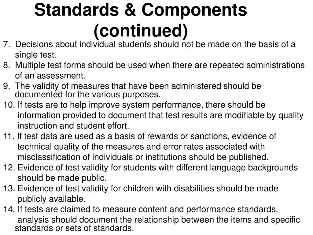 Standards & Components (continued)