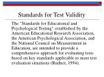 standards for test validity