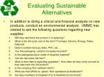 evaluating sustainable alternatives