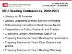 csu reading conferences 2002 2009